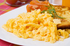 Scrambled eggs and french toast Royalty Free Stock Photo