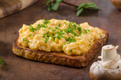 Scrambled eggs french toast Royalty Free Stock Images