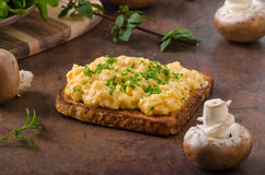 Scrambled eggs french toast Stock Image