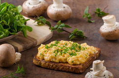 Scrambled eggs french toast Royalty Free Stock Image