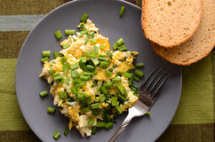 Scrambled eggs with fresh chives Royalty Free Stock Photo