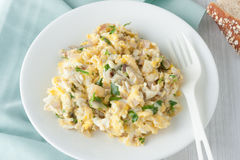 Scrambled eggs with fresh herbs and red onion Stock Images