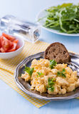 Scrambled eggs with fresh parsley on vintage metal plate Royalty Free Stock Photography