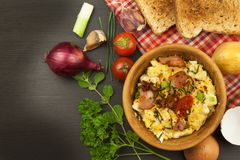 Scrambled Eggs Cooked English Breakfast Stock Photo