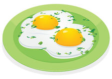 Scrambled eggs on green plate Royalty Free Stock Photography