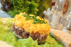 Scrambled eggs with ham. On lettuce stock image