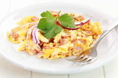 Scrambled eggs with ham Royalty Free Stock Images