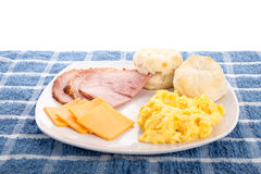 Scrambled Eggs Ham Biscuits and Cheese Stock Photo