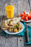 Scrambled eggs. Scrambled eggs with ham and chives Stock Photography