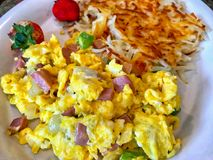 Scrambled eggs with ham and herbs Royalty Free Stock Image