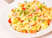 Scrambled eggs with ham and vegetables Royalty Free Stock Images