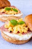 Scrambled eggs and ham Stock Image