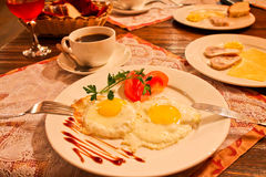 Scrambled eggs. Hearty Breakfast in a cozy hotel, Irkutsk, Russia Stock Photos