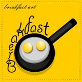 Scrambled eggs. From a hens egg in a frying pan. Vector illustration Stock Photography