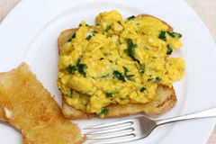 Scrambled eggs high angle Royalty Free Stock Image