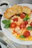 Scrambled eggs with mozzarella Royalty Free Stock Photo