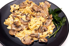 Scrambled eggs with mushrooms Stock Photos