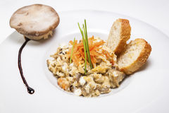 Scrambled eggs and mushrooms Royalty Free Stock Images