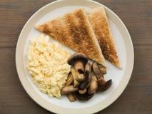 Scrambled Eggs Mushrooms and Toast Stock Image