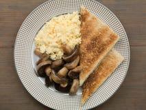 Scrambled Eggs Mushrooms and Toast Royalty Free Stock Photos