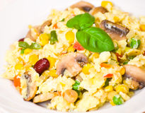 Scrambled eggs with mushrooms and vegetables Royalty Free Stock Photo