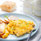 Scrambled eggs, omelet, sweet pepper and hot smocked chicken, ham. Royalty Free Stock Photo