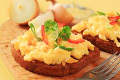 Scrambled Eggs On Fried Bread Stock Images