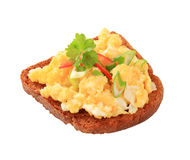 Scrambled Eggs On Fried Bread And Royalty Free Stock Photography