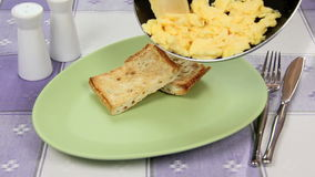 Scrambled Eggs From The Pan Royalty Free Stock Photo