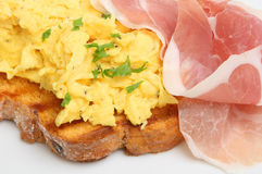 Scrambled Eggs with Parma Ham Royalty Free Stock Images