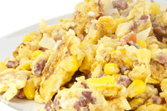 Scrambled eggs on plate (with clipping path) Royalty Free Stock Image