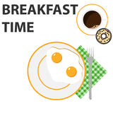 Scrambled eggs. On a plate. Flat design, illustration royalty free illustration