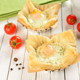 Scrambled Eggs in Puff Pastry Stock Photos