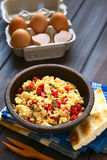 Scrambled Eggs with Red Bell Pepper and Green Onions Royalty Free Stock Photography