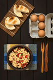 Scrambled Eggs with Red Bell Pepper and Green Onions Stock Photo