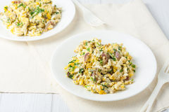 Scrambled eggs with red onion and herbs Royalty Free Stock Photo