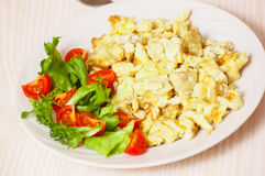 Scrambled eggs with salad Stock Photography