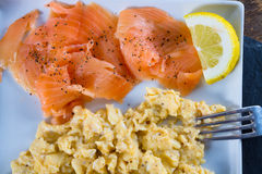 Scrambled eggs with salmon royalty free stock photo