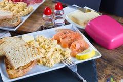 Scrambled eggs with salmon stock photos