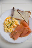 Scrambled eggs with salmon Royalty Free Stock Photos