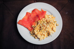 Scrambled eggs and salmon Stock Photography