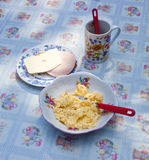 Scrambled Eggs, Sandwitch and Coffee Stock Images