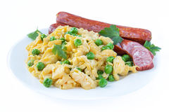 Scrambled eggs and sausage Royalty Free Stock Photo