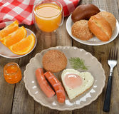 Scrambled eggs with sausage Stock Image
