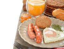 Scrambled eggs with sausage Stock Images