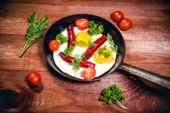 Scrambled eggs with sausage delicious breakfast Royalty Free Stock Photos