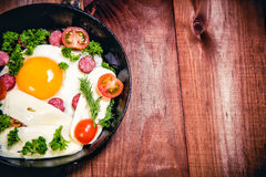 Scrambled eggs with sausage delicious breakfast Royalty Free Stock Photo