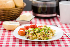 Scrambled eggs with sausage Royalty Free Stock Photo