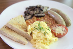 Scrambled Eggs and Sausages Braekfast Stock Photography