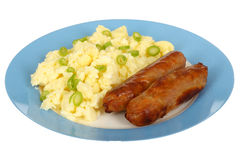 Scrambled Eggs with Sausages Stock Photography